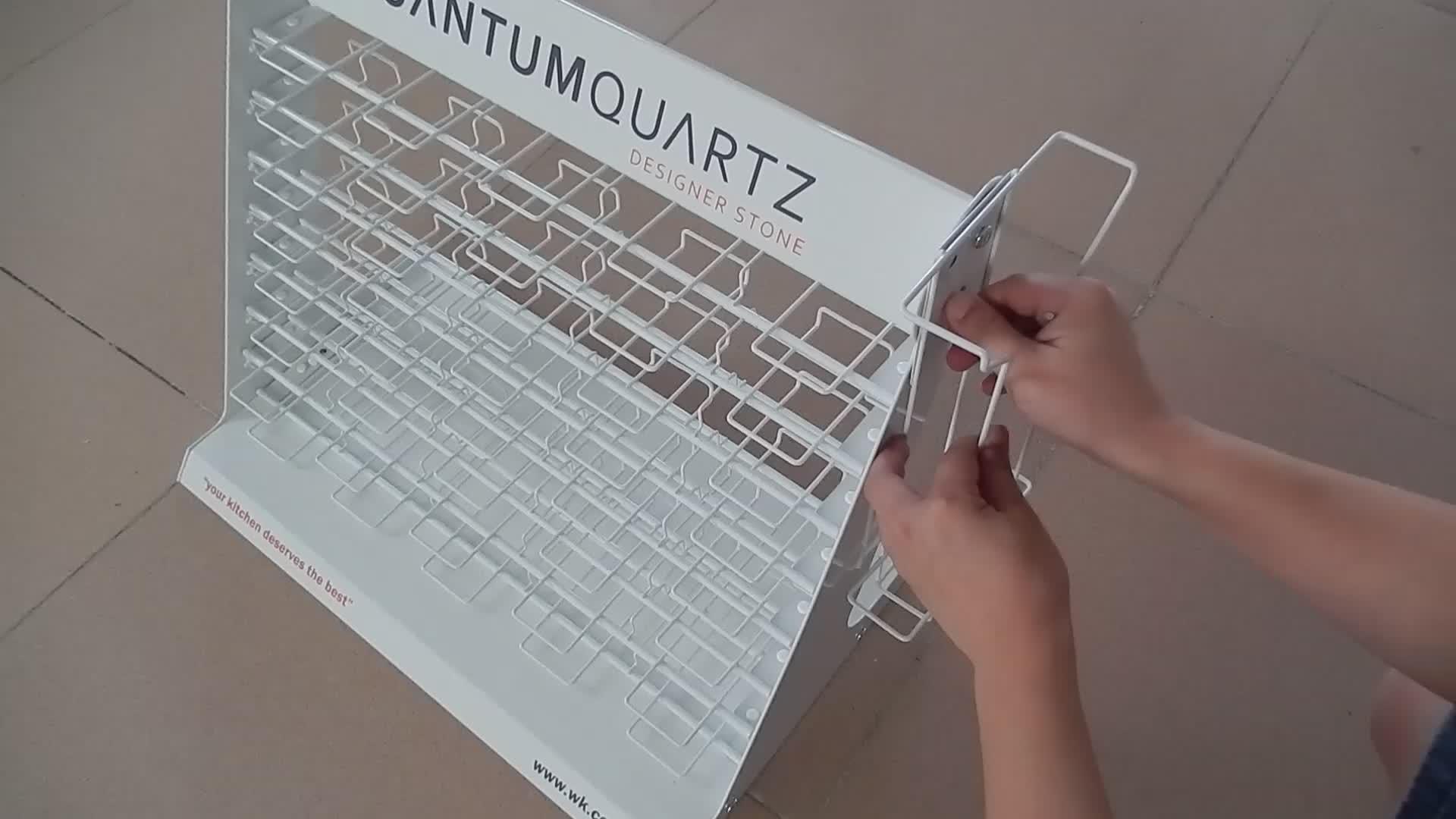 Prezzo di fabbrica Personalizzato Da Pavimento Semplice Metallo Tappeto di Pietra 4-Layer Appeso Mosaico Display Stand