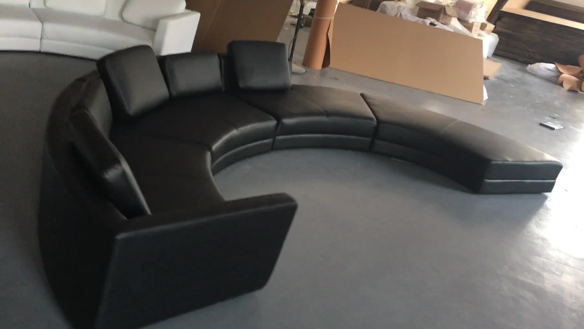 Curved Design Furniture Leather Sectional Round Sofa A004
