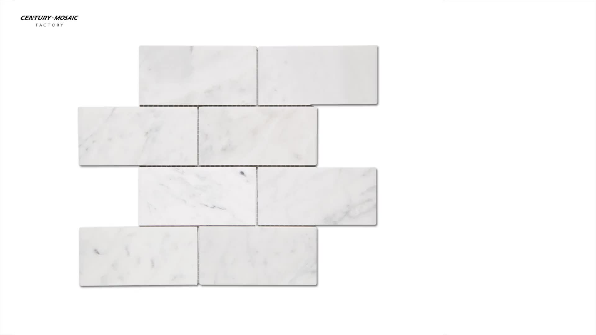 Polished White Marble Subway Tile For Bathroom Wall