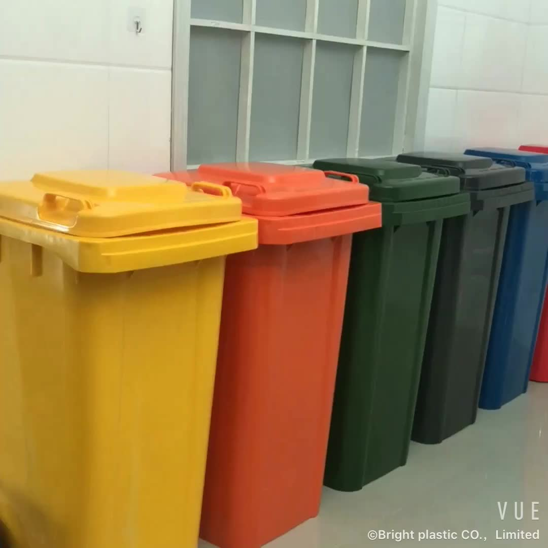 Made of pure HDPE plastic in varied colors heavy duty 120l plastic garbage can with 2 wheels
