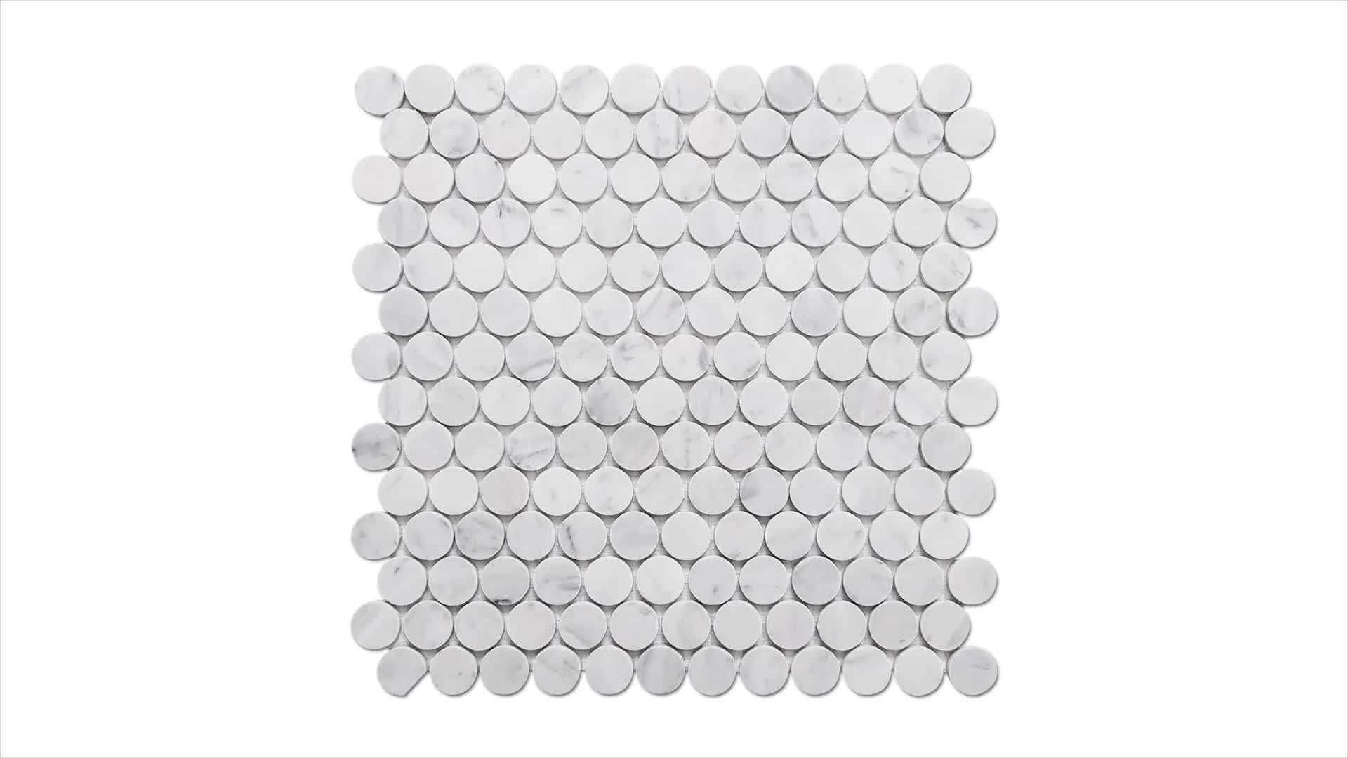 1'' Polished Bianco Carrara White Marble Penny Round Mosaic Tile