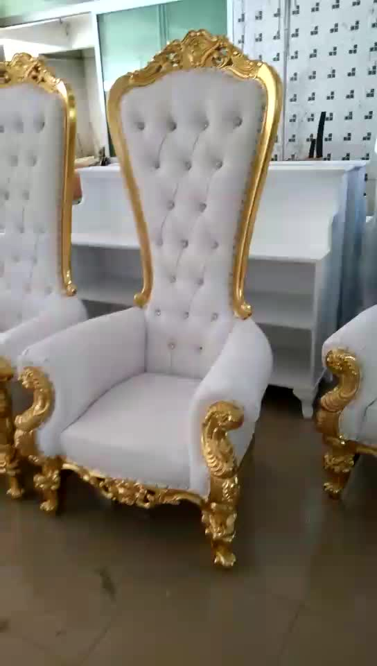 Beau HC503 Hotel Furniture Wooden Luxury French Baroque White Gold High Back  Cheap Queen King Throne Wedding