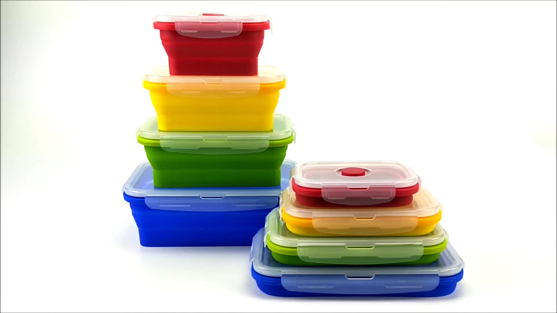 Creative Folding Portable Bento Boxes Microwave Lunch Box Silicone Plastic Fruit Food Collapsible Container China Dinner