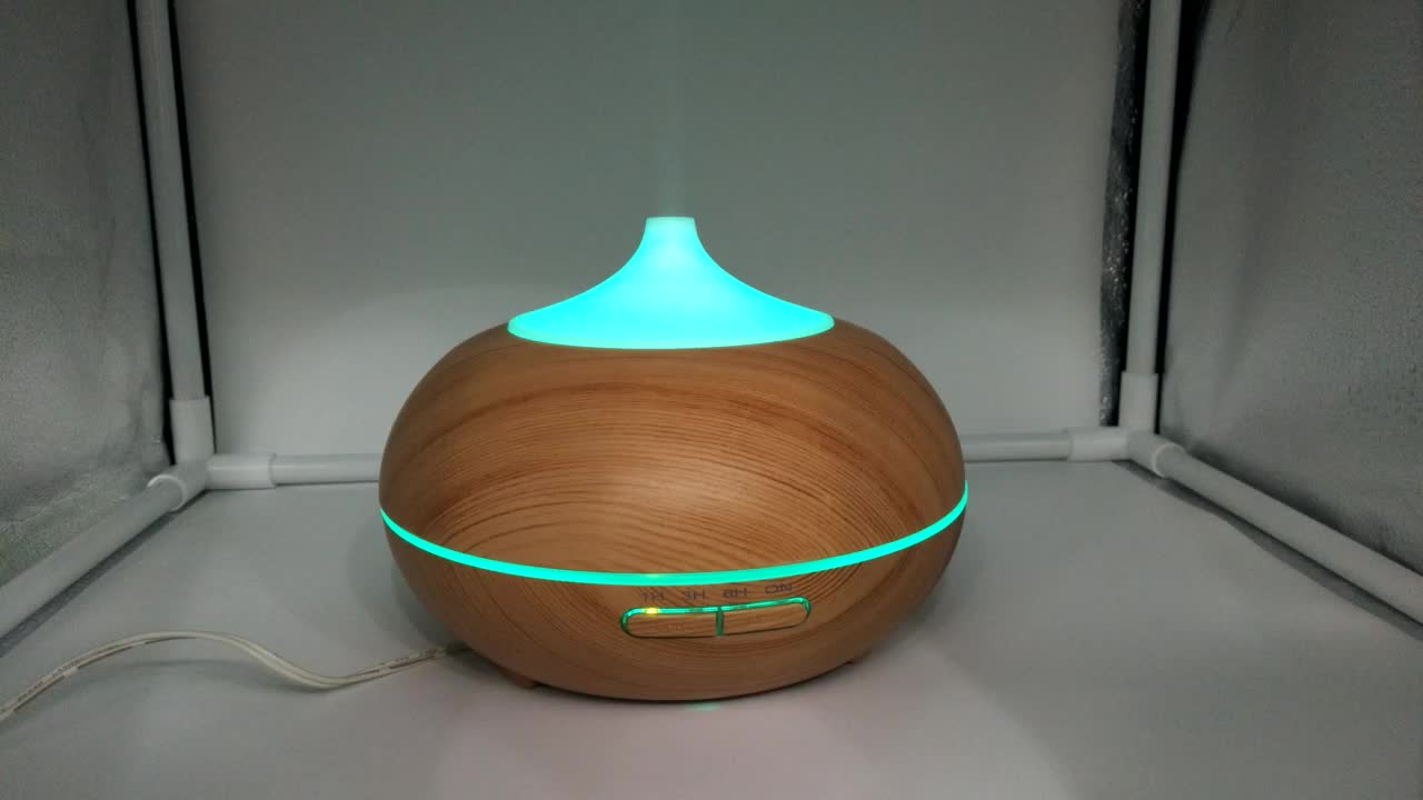 Factory supply 300ml portable wood grain diffuser aromatherapy electric aroma essential oil with lamp