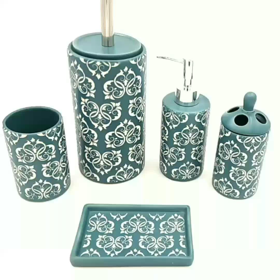 Set of 5 sand blast black ceramic bathroom set for hotel