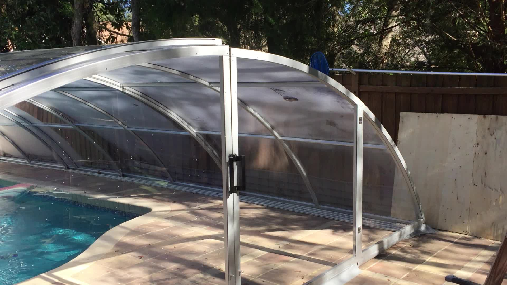 Polycarbonate out ground swimming pool enclosures buy for Plexiglass pool enclosure
