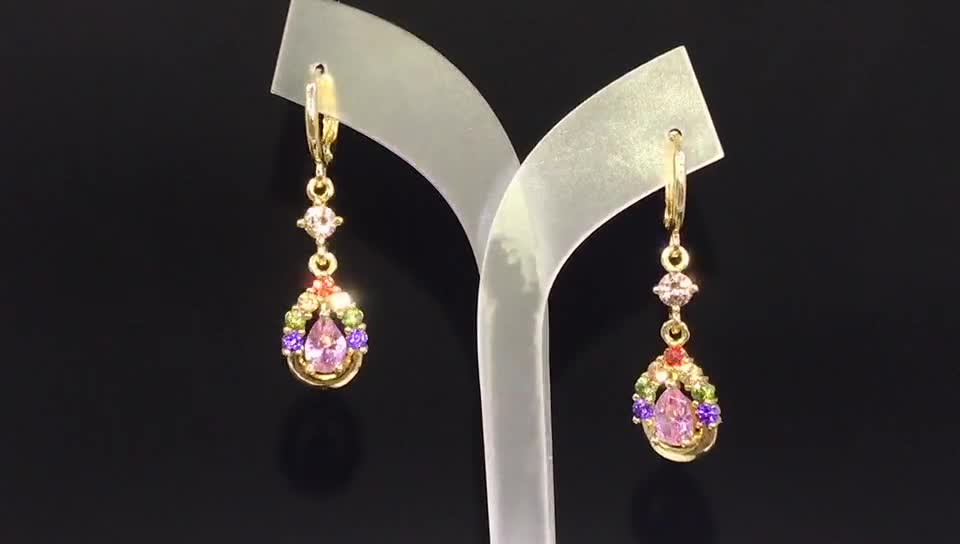 24K Gold Plated Hanging Diamond Earrings With Cubic Zirconia Red Stone