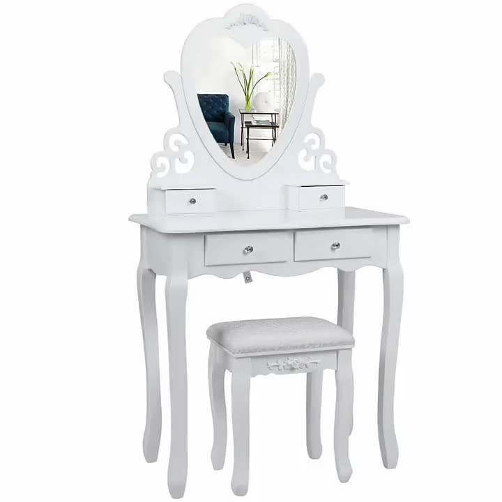Handmade Wooden Mirrored White Vanity Portable Makeup Table
