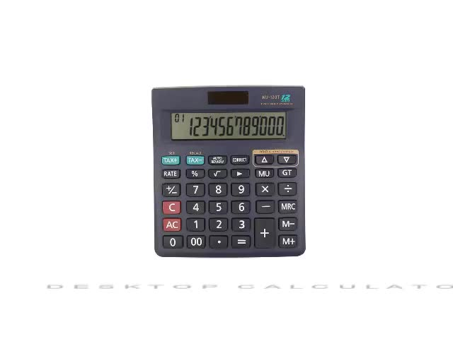 12 digits solar+battery 100 check steps black business tax calculator with big display
