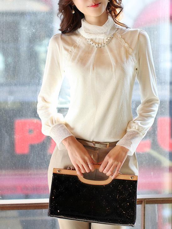 Блузка Подпружиненные 2013 хлопок корейской версии сплошной цвет базового рубашка с длинным рукавом t рубашки женщин кружева водолазку
