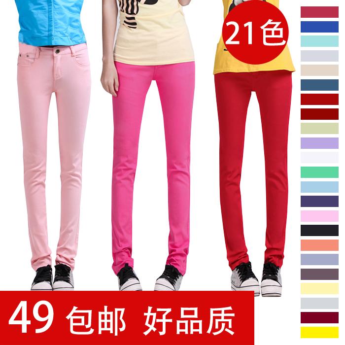 Джинсы женские Цветы 2013 Новый корейский волны дамы цвет конфеты цветные ноги джинсы карандаш случайные штаны брюки