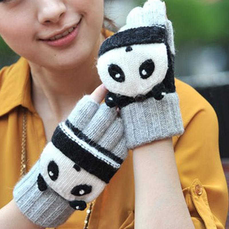 Перчатки Женские перчатки половина пальцами мультфильм милый процедить тип записи теплая зима флисовые перчатки