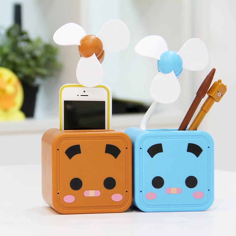 张小盒正品 可爱迷你USB风扇超静音 可收纳盒 电池两用创意小风扇