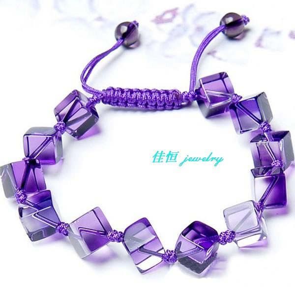 极品巴西天然紫水晶手链女款 水晶方块手编手链欧美款式手链包邮
