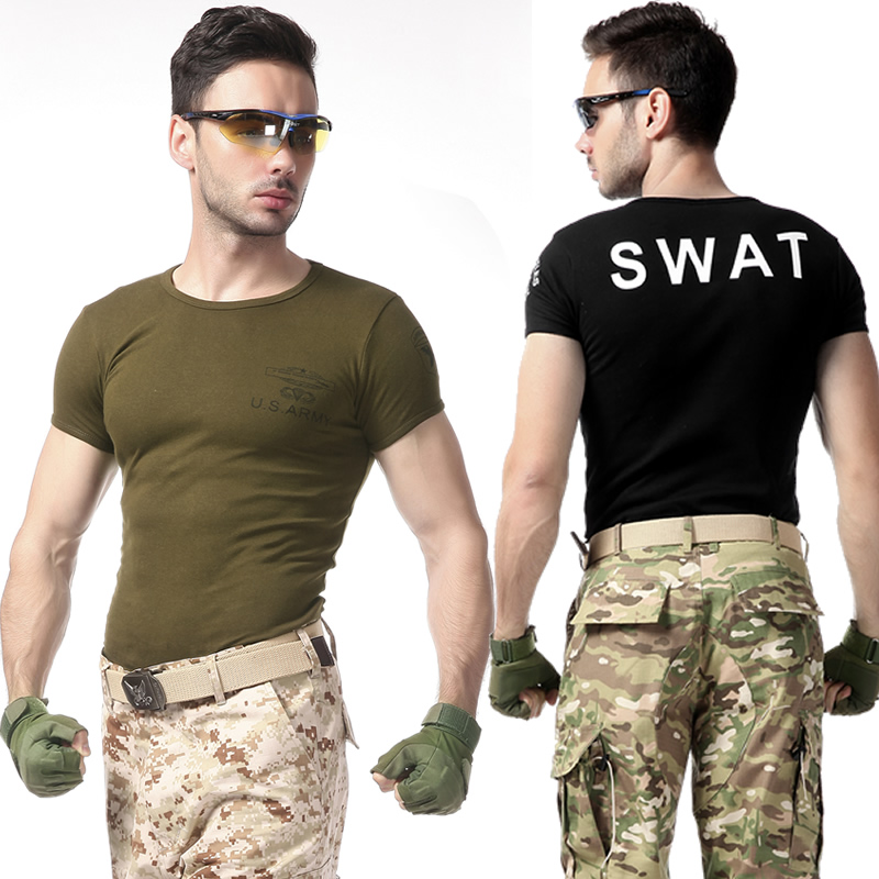 Us summer male tight t shirt 101 Airborne Division round neck Cotton spandex fitness short sleeve t-shirt black hawk special ops
