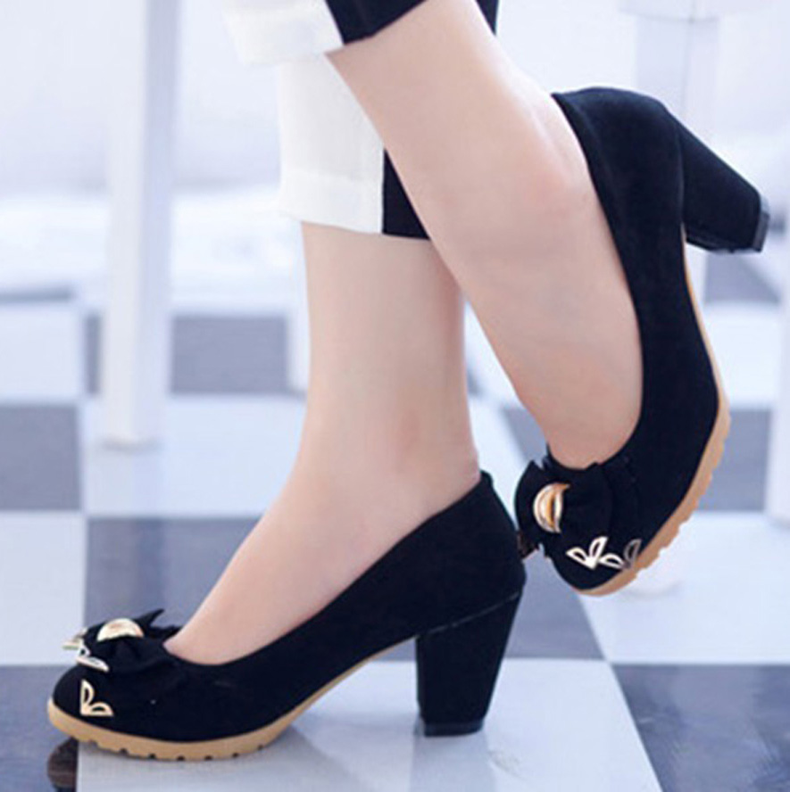 туфли Нубук-Женская обувь в весной и осенью толстые с металлическими блестками лук сухожилия склон с работающих женщин обувь