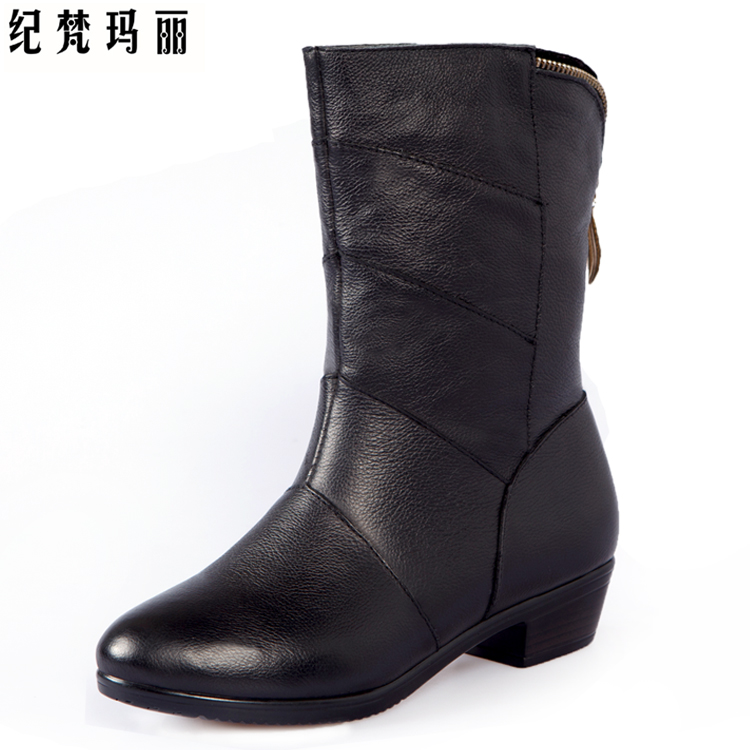 纪梵玛丽 秋冬新款真皮短靴 低跟马丁靴女靴时尚女鞋雪地棉鞋