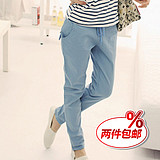 2013 fall Korean fashion feet female pants trend of the thin elastic waist pants slacks plus size trousers
