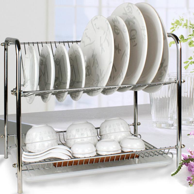 厨房不锈钢双层滴水沥水架整理架碗碟架置物架餐具收纳架用品包邮