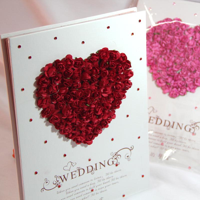 婚庆用品结婚礼品婚宴布置 签名册创意立体玫瑰纸花签到本礼金薄