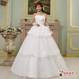 qi 2013 beautiful lace wedding the princess flowers korean large yards fat wedding dress the mm was thin new straps