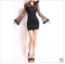 Sexy lace long sleeve dress stitching , as micro-