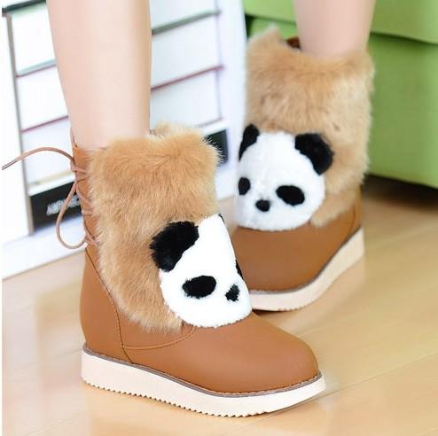 Женские сапоги Милые панды плюш, теплые ugg сапоги клинья платформы обувь Зима новый студент зимняя обувь