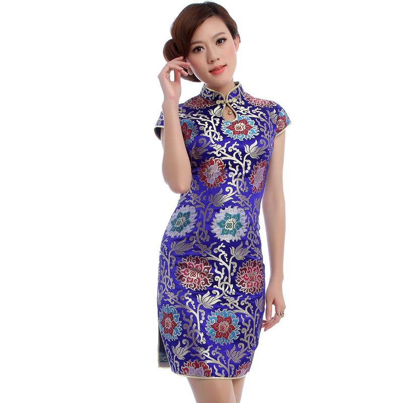 云锦旗袍 婚礼妈妈装 夏装 婚宴高档深青花瓷蓝礼服 第五衣柜5560