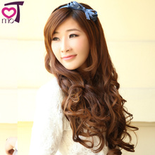KeMu Japan and South Korea girl matte high temperature wire non-trace hair hair shade A chip large extended curly wig