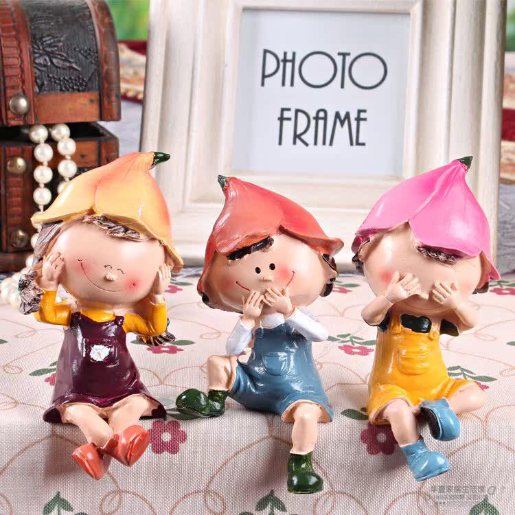 三不娃娃 田园 卧室不看不听不说套装 树脂娃娃 创意家居装修饰品