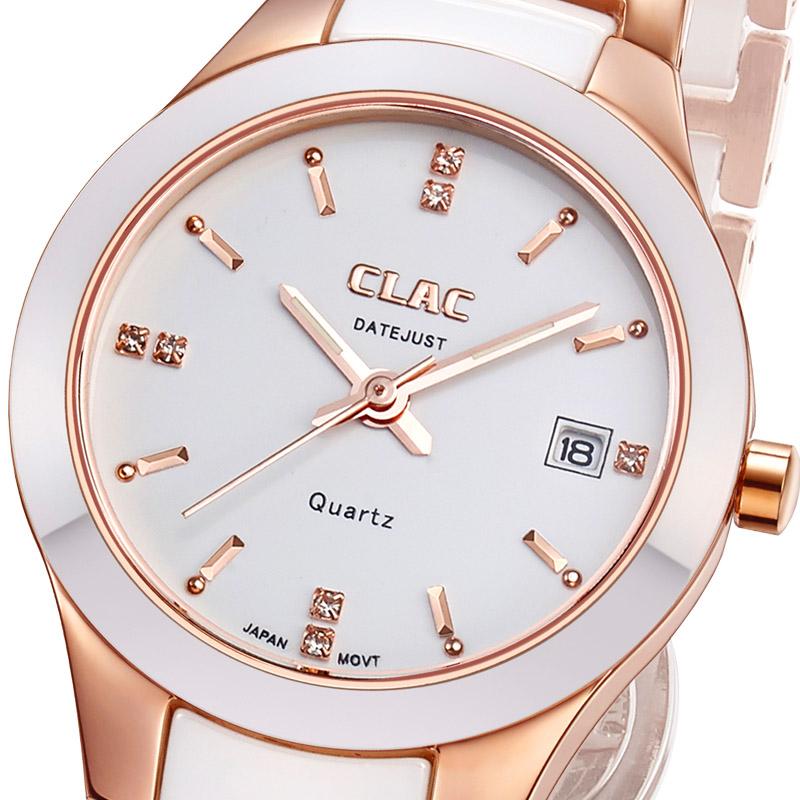 正品clac手表 时尚韩版陶瓷女表 白色女式手表 女士情侣手表对表