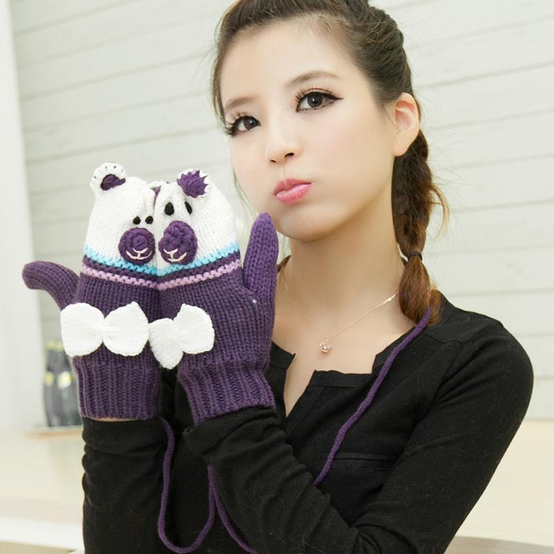 韩版冬季保暖可爱卡通毛线女式纯色连指手套高中学生