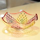 炫彩花纹水晶玻璃水果盘