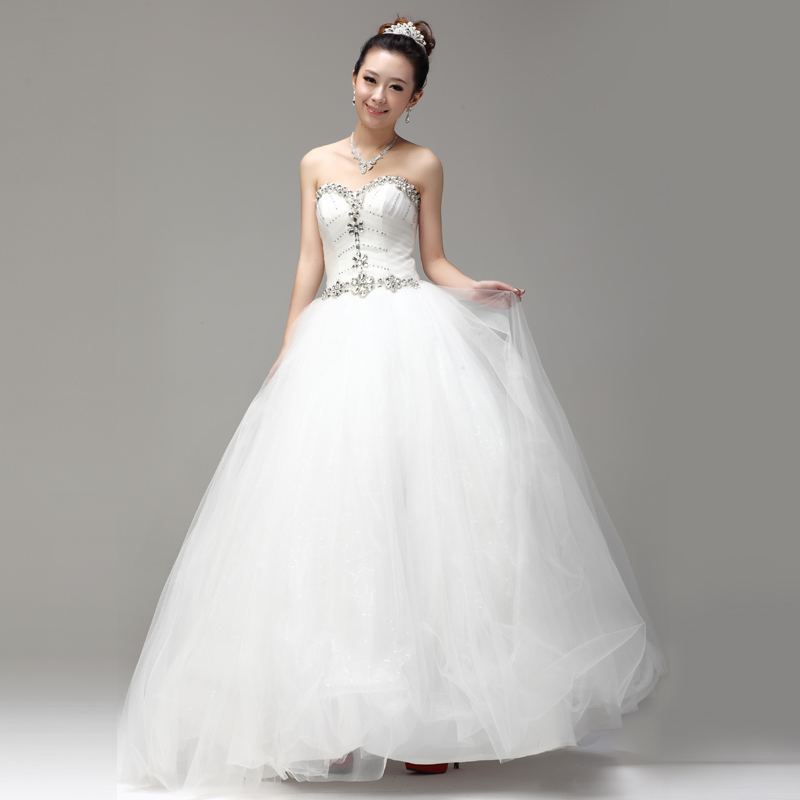 wedding dress 2013 latest korean-style sweet princess wedding bra korean diamond winter qi wedding