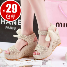 New! Roman princess summer fish head slope with thick crust muffin waterproof bandage linen sandals child