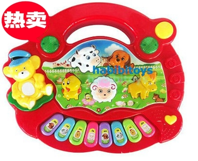 Children's early childhood music baby farm animal organ keyboard sound lighting toys 0-3 years old