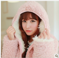 Korean style cute bat sleeve hooded thick wool velvet plush coat big size loose