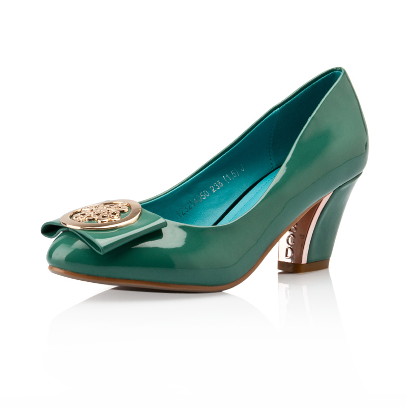 包邮2013春新款卓诗尼  结婚季简约通勤纯色女士单鞋 圆头浅口粗高跟婚鞋