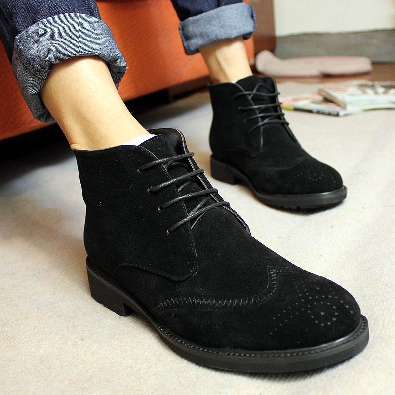 Полуботинки Ботинки Шнурок Двухслойная натуральная кожа Микрофибра Нубук (шершавая кожа) Низкое голенище (10-20 см) Острый носок