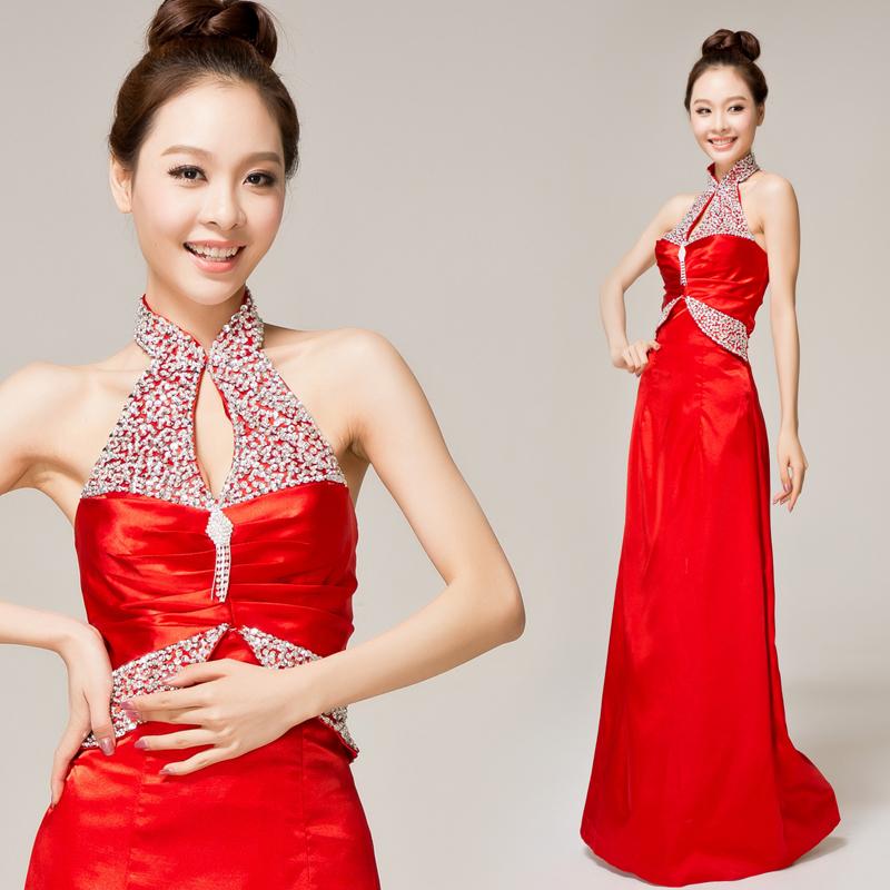 婚纱礼服 新款2013双肩红色长款新娘结婚礼服结婚季 齐地礼服 高腰礼服