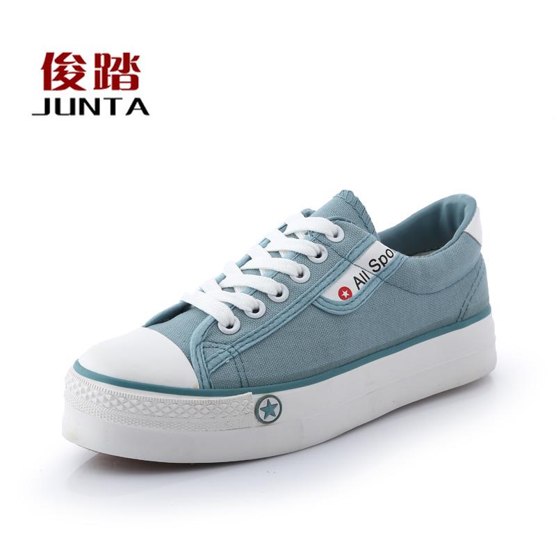新款 松糕厚底鞋 纯色低帮 韩版潮流学生女鞋休闲鞋 帆布鞋 单鞋