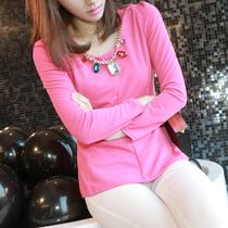 2013春装新品韩版圆领钉珠泡泡袖修身显瘦裙摆式上衣衬衫女AA918