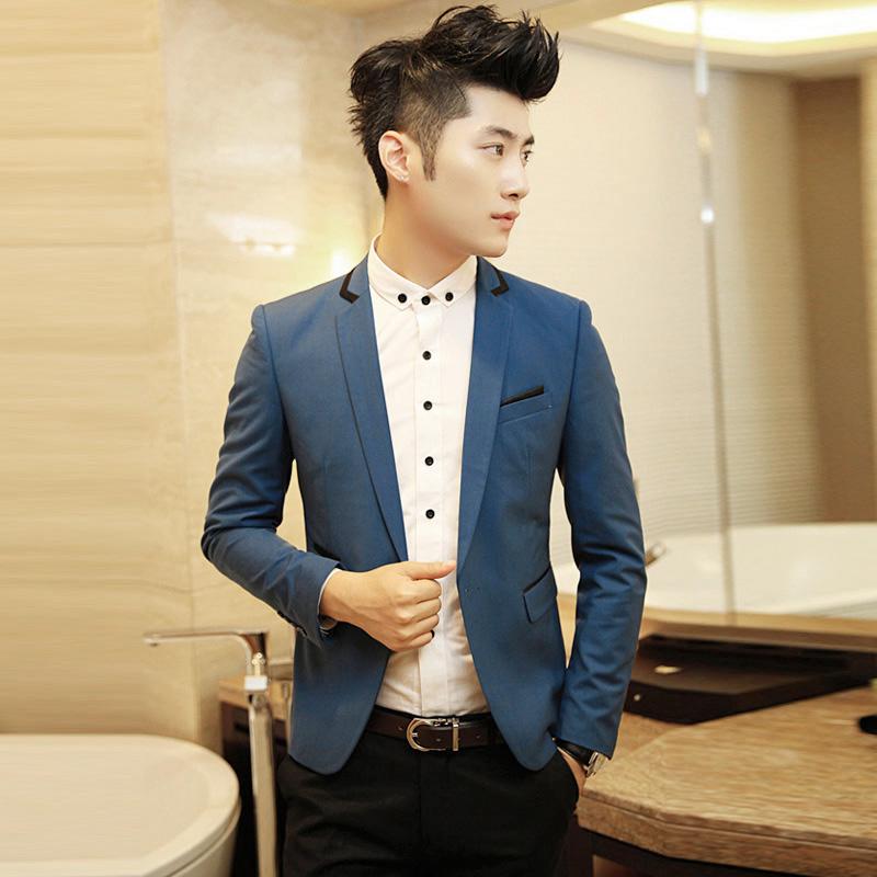 韩版修身西装 领子配色 胸口配色 单扣单开衩西服 男士小礼服潮款