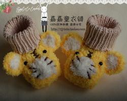 冬款 手工编织婴儿宝宝毛线鞋绒绒鞋 男女宝宝老虎款绒绒保暖鞋
