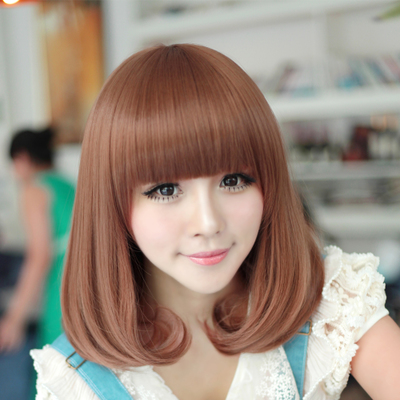 Qi Liu pear head wig female long hair fluffy sweet and lovely long hair shoulder-length wig lifelike shipping