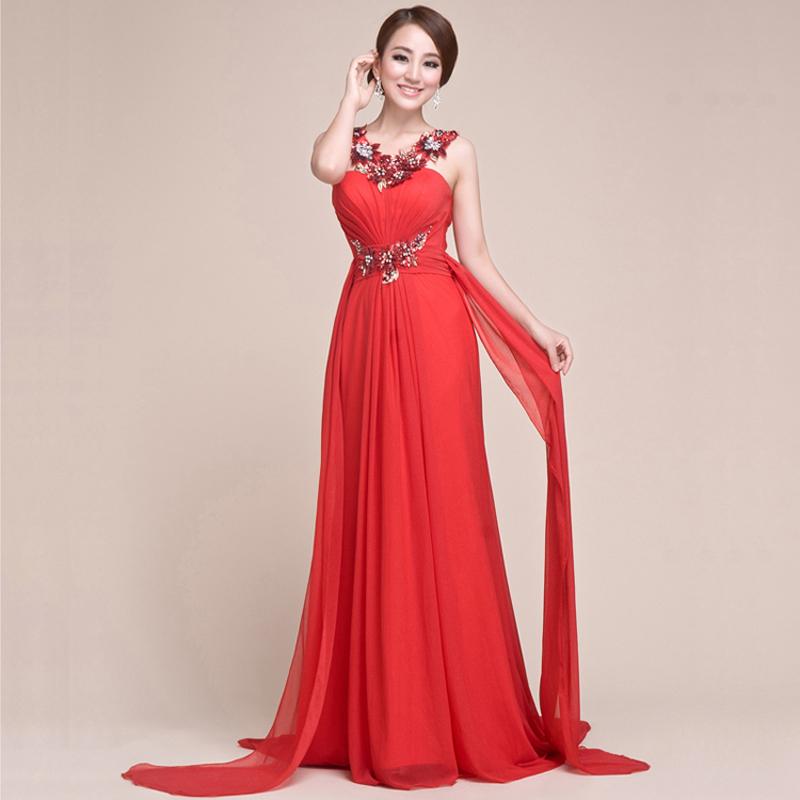2013新款晚礼服长款 修身欧美新娘敬酒服 红色结婚礼服晚装旗袍