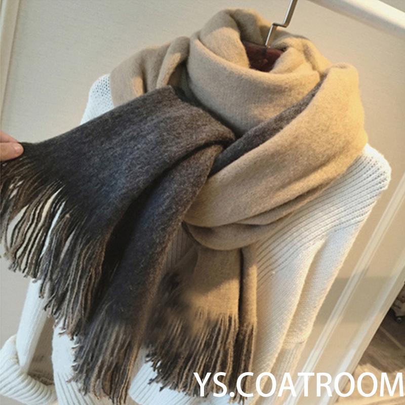 韩国仿羊绒双色围巾女士加厚潮韩版纯黑色披肩冬季超大长款学生