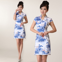 The flowers Iraq Yuhe 2013 new cheongsam dress summer fashion improved printing cheongsam retro women dress