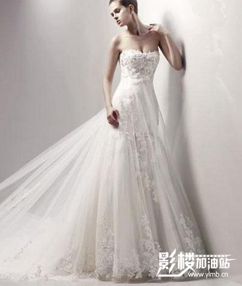 婚纱 拖尾 王微微vera wang 婚纱 新娘服装 欧美款结婚婚纱 抹胸