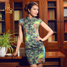 The wind blowing 2013 summer new cheongsam dress green peacock design elegant fashion improved day-to-day dress